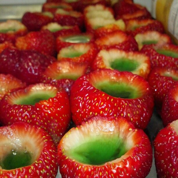 Strawberry Jello Shooters. Soak the fruit in vodka first?