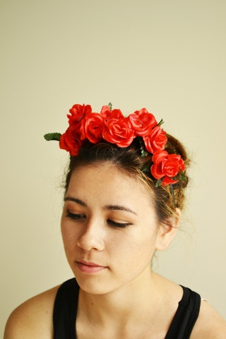"$15.00 FREE SHIPPING IN NZ!  ""Passion"" Flower Headpiece, Josie Smith Couture.  Red will allways be romantic. Give your cocktail dress a French twist with these luscious red roses.  Uniquely hand crafted just for you."