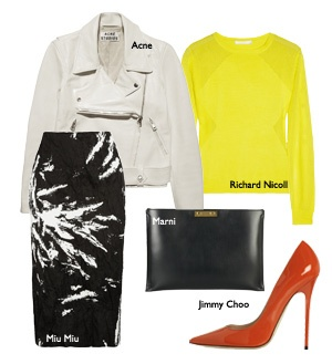 The midi skirt makes a comeback. Teamed up with a contrasting top and edgy jacket,killer heals, over-sized clutch for a chic style with glamour and edge!