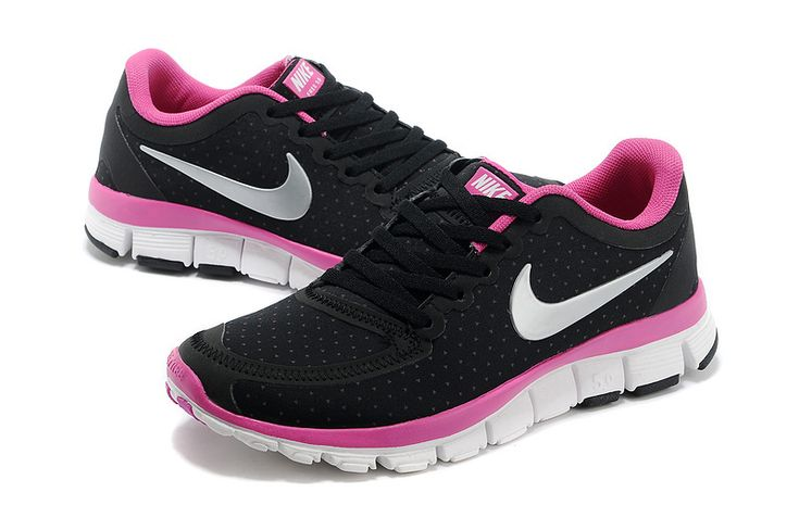 2014 Nike Free 5.0 V4 Women Carbon Black Deep Pink Summit White #fashion #sneakers