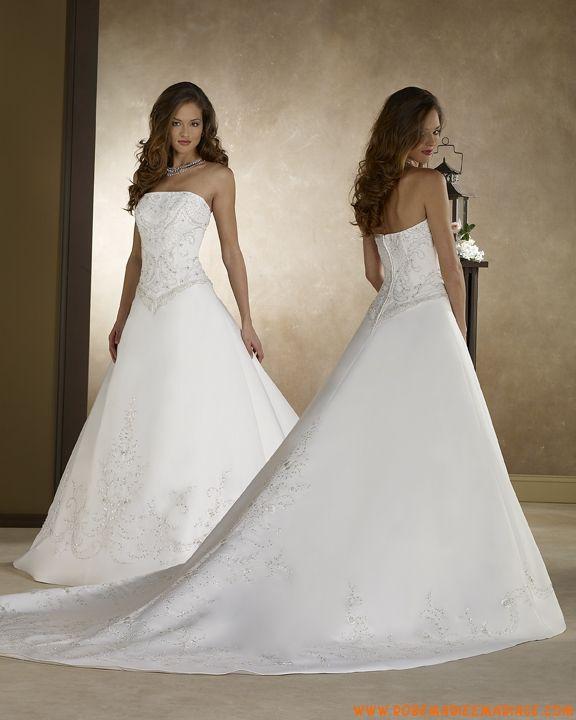 Robe A-ligne bustier en satin ornée de broderies robe de mariée avec traîne