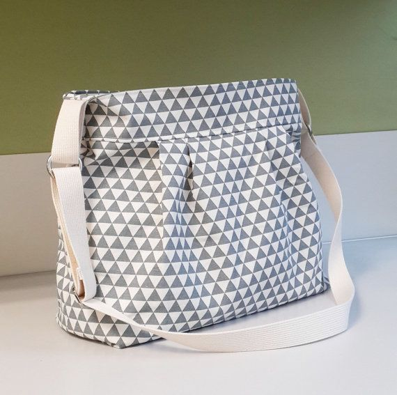 TRIANGLE GREY Large Diaper Bag Handmade by SheetaDesign Messenger Crossbody Bag Shoulder Bag