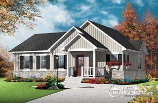 Bourgade 2 Plain-pied chaleureux et abordable, style craftsman, secteur activités à l'arrière, grande cuisine avec îlot - W3131-V1