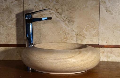 """""""Mina"""" is a simple yet beautiful stone sink by Pietre di Rapolano. Great for minimalist bathrooms. $315"""