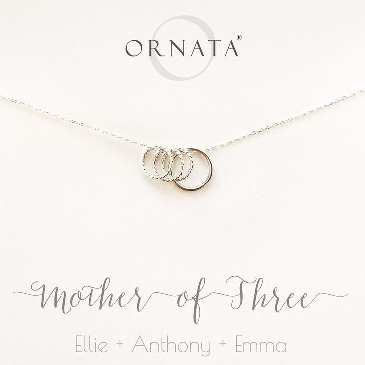 """""""Mother of Three"""" Personalized Sterling Silver Necklace 