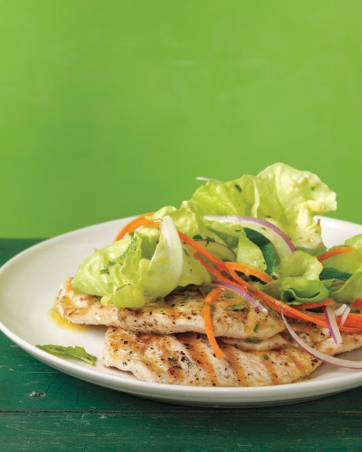 Grilled Chicken Paillards with Mint Salad (with Lemon-Herb Dressing)