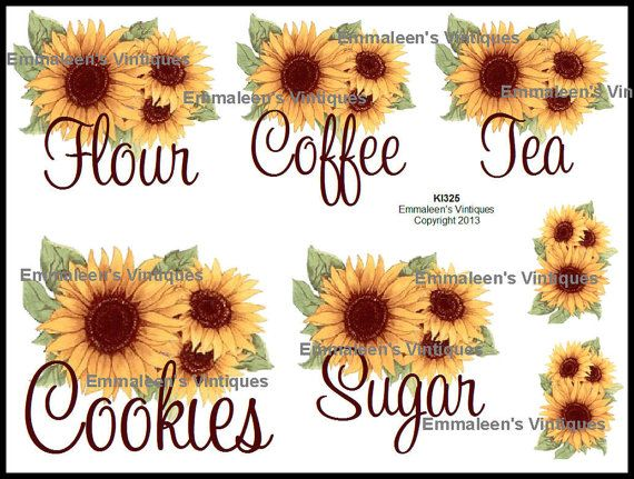 Vintage Sunflower Kitchen Canister Set by emmaleensvintiques