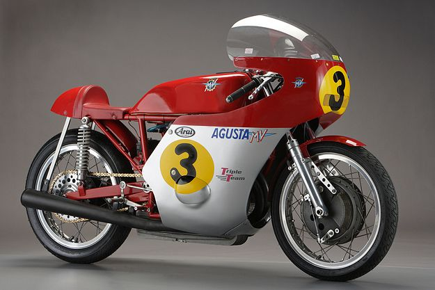 MV AGUSTA 500 THREE We always associate MV Agusta with the 500 Three of 1966-74, which Giacomo Agostini rode to six 500cc Grand Prix World Championships. The red and silver colors, the yellow roundels and the exquisite fairing are just so … Italian.
