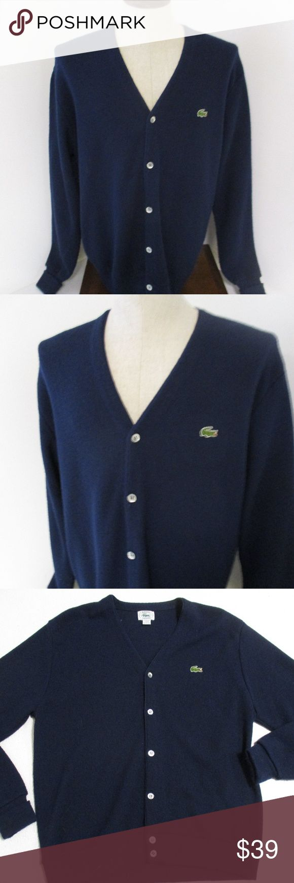 """Lacoste Vintage Orlon Men's Cardigan Sweater Large Dark blue     100% Orlon Acrylic     Alligator logo on the front     Cardigan style buttons in front     Very cool looking sweater in excellent condition    Chest- 23""""  Length- 29"""" Lacoste Sweaters Cardigan"""