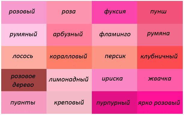 такой оттенки розового цвета названия с фото зулу принадлежит