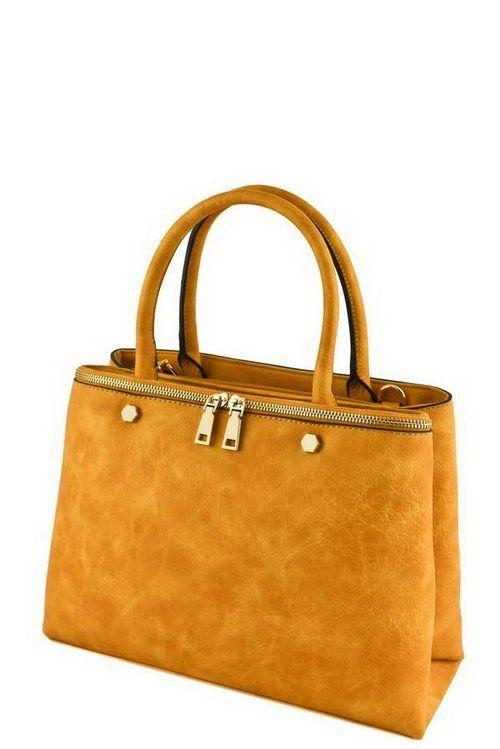 Designer Zipper Accent Tan Tote Bag
