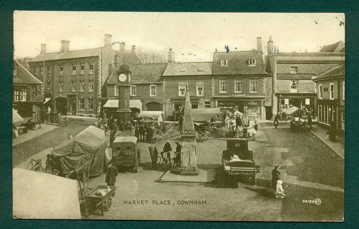 1 of 1: DOWNHAM,MARKET PLACE WITH SHOPS & MARKET, vintage postcard