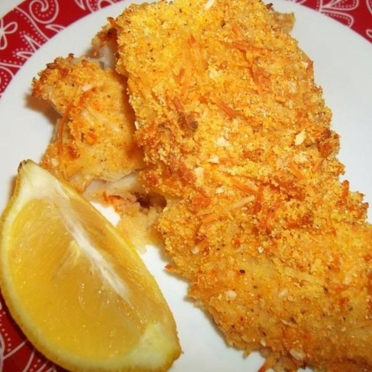 Yum! Deliciously crunchy fish without all the fat. My kids love when I make my fish this way. So easy too...always a plus! I've used this coating on many different kinds of fish. It's great on all...  Enjoy!