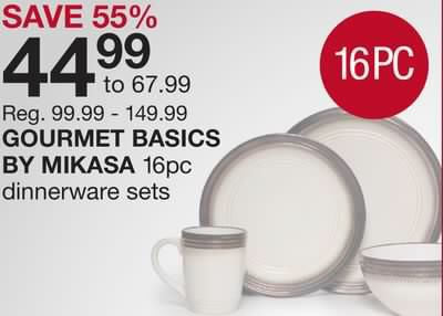 Shared from Flipp: GOURMET BASICS BY MIKASA 16pc dinnerware sets in the Home Outfitters flyer