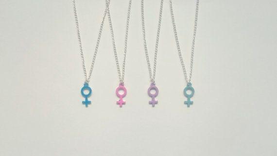 $15 Pastel Venus Charm Necklace, Pink Feminist Necklace, Pastel Woman Symbol Necklace, Pastel Venus Charms, Pastel Woman Symbol