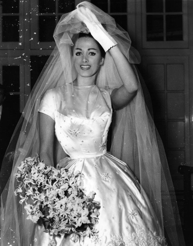 1960. British actress Jackie Collins on her wedding day. | 36 Vintage Wedding Dresses From Way Before You Were Born
