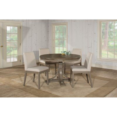 Hillsdale Clarion 5 Piece Round Dining Set with Upholstered Chairs - 4541DTB5C3