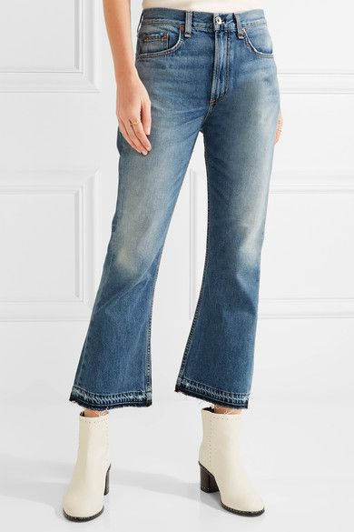 rag & bone - Vintage Crop Frayed High-rise Flared Jeans - Mid denim