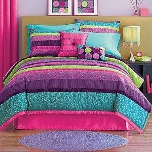 Perfect! Has Maddie's lime and turquoise and will match her purple carpet!
