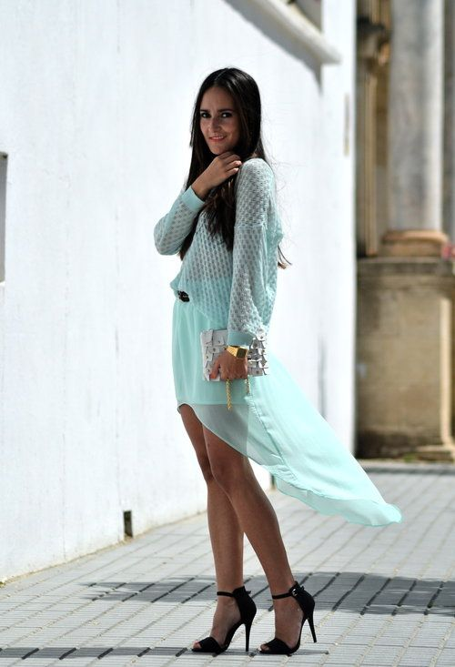 Tail hem: Chic Skirts, Aquamarine Mint, Fashion Style, Clothes, Sorbet Colors, Outfit, The Mode, Style Fashion