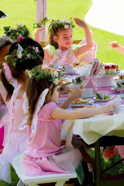 fairy tea party with wands, wings and fairy halo's