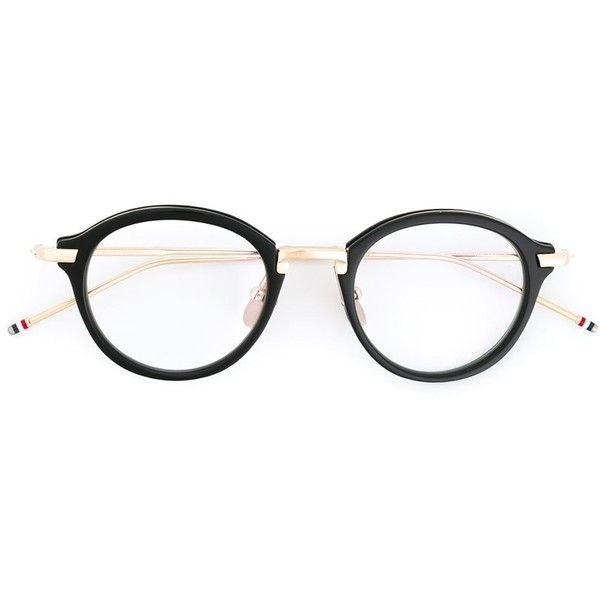 Thom Browne round frame glasses ($760) ❤ liked on Polyvore featuring accessories, eyewear, eyeglasses, black, lens glasses, black eye glasses, thom browne glasses, thom browne eyewear and thom browne