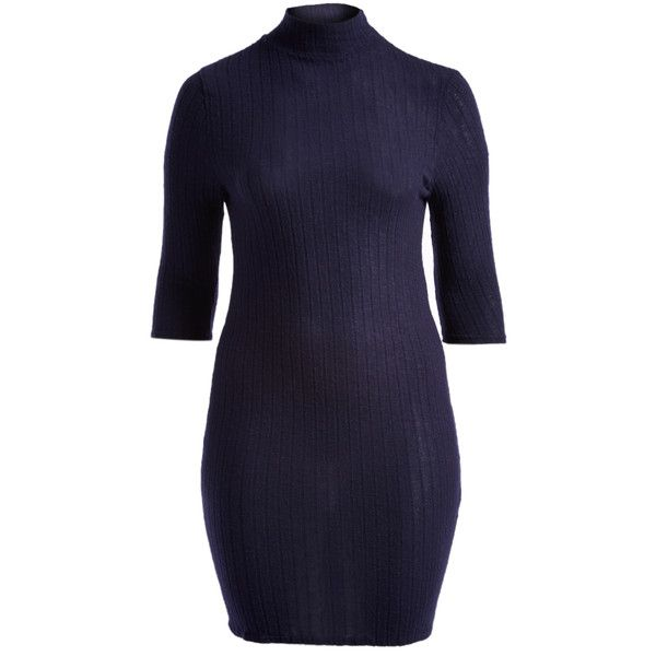 Hot Ginger Navy Ribbed Mock Neck Dress ($17) ❤ liked on Polyvore featuring dresses, plus size, plus size dresses, navy plus size dress, blue long dress, plus size blue dress and long dresses
