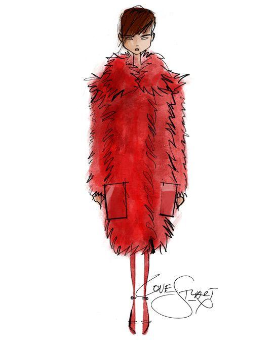 Croquis de Stuart Vevers pour la collection Loewe automne-hiver 2013-2014