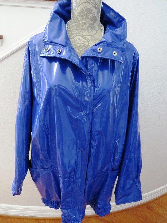 1980s Shiny Blue Vinyl Raincoat By Kenn Sporn Wippette Size Large Snap Up Jacket Coat Macintosh Mac R Vintage Clothes Women Raincoat Womens Fashion Vintage