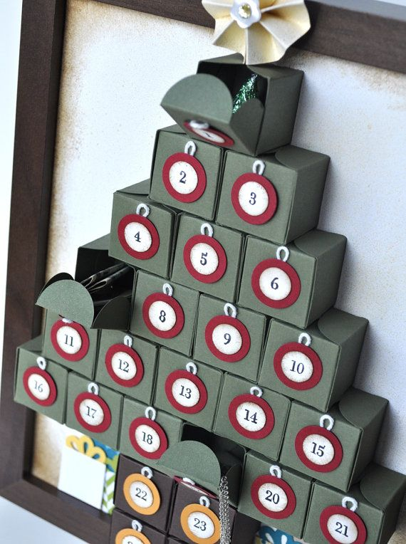 Christmas Tree Framed Advent Calendar for Wall or by MyPaperMoose, $49.95