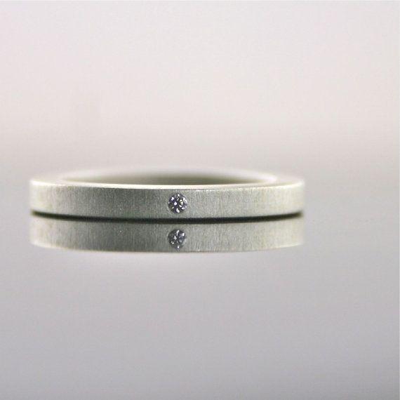 Winzige Diamantring Sterling Silber 2 mm einfache von CocoandChia