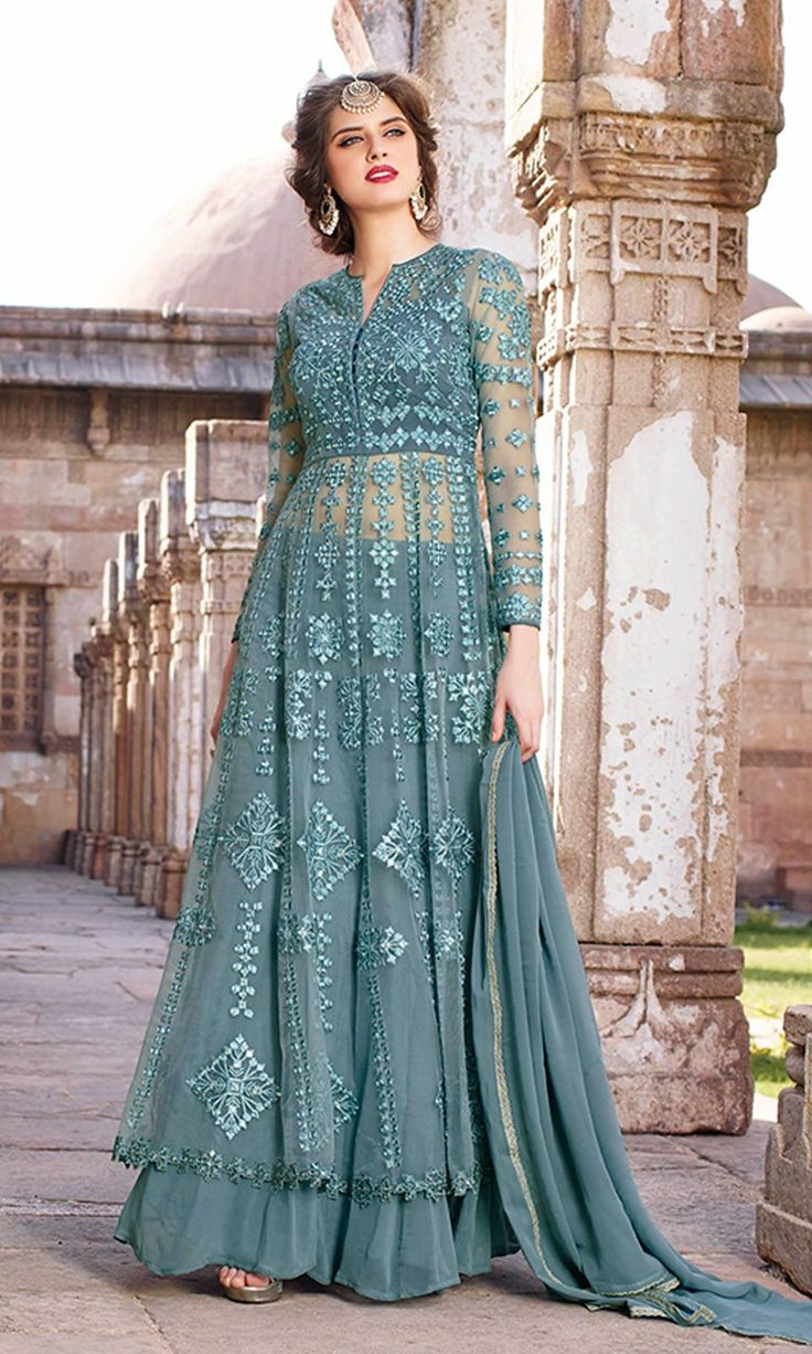 Buy wedding party wear Grey Floor Length Designer Anarkali Suit ( SKU Code…