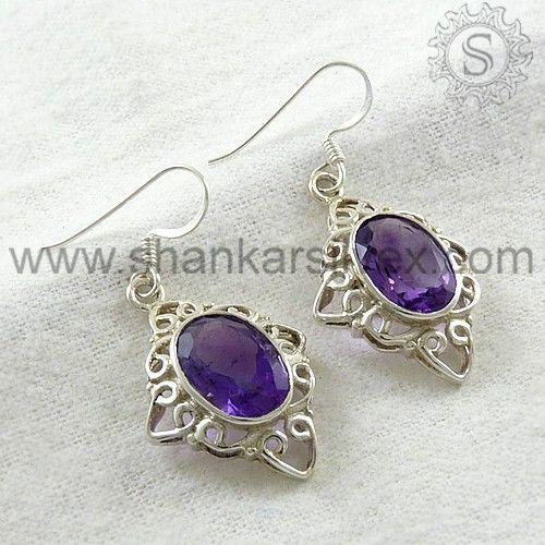 925 Sterling Silver New Style Amethyst Gemstone Earrings.