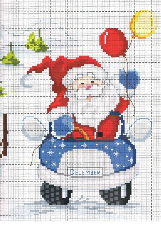 Cross Stitch - Santa driving a car while holding balloons
