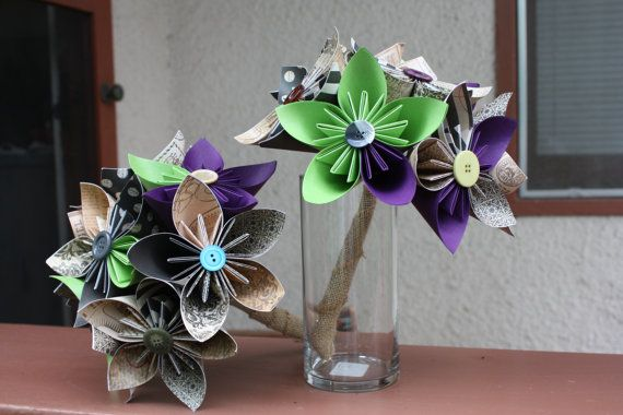 Paper Flowers Custom Order Vintage Bouquets with purple and green accents by RileyandFriends