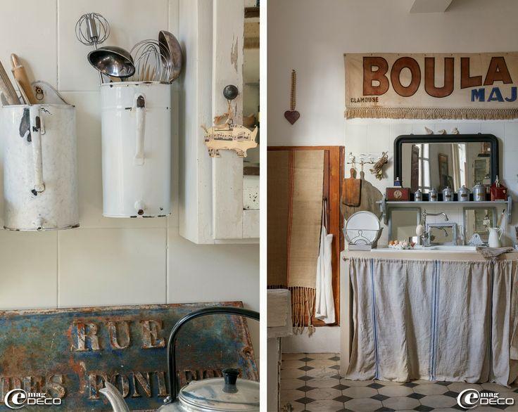 Anciennes cruches (fontaines à eau) en métal émaillé détournées en porte-ustensiles de cuisine, plans de travail en béton ciré habillés de r...