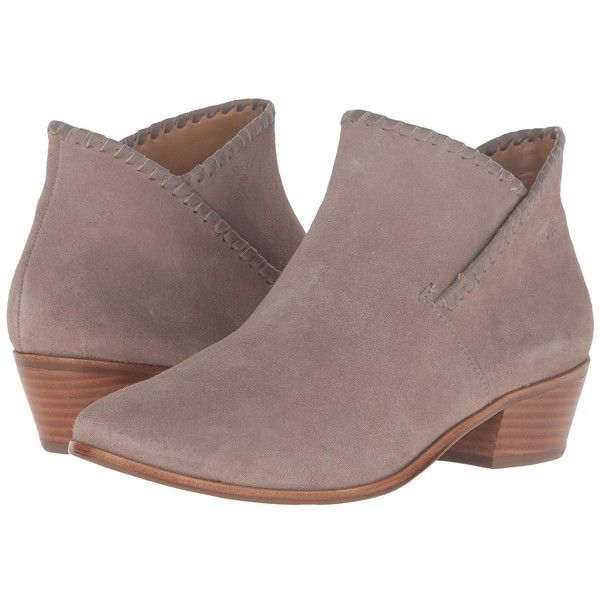 Jack Rogers Sadie Suede (Light Grey) Women's Boots ($148) ❤ liked on Polyvore featuring shoes, boots, ankle booties, ankle boots, stacked heel booties, jack rogers boots, suede ankle boots and suede bootie