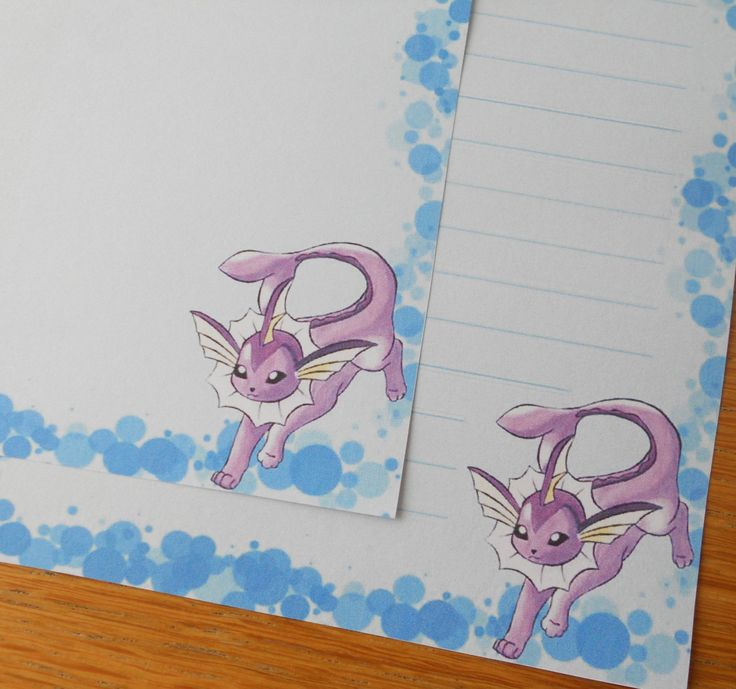 Letter paper - pokemon shiny vaporeon - stationary paper - cute note card (4.00 EUR) by XiaoYanZi