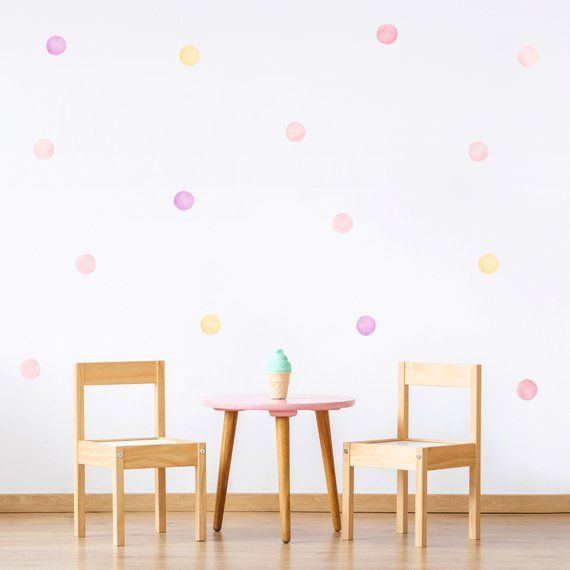 Mixed Big Watercolor Polka Dots Wall Decals 6 Cm Plastic Free