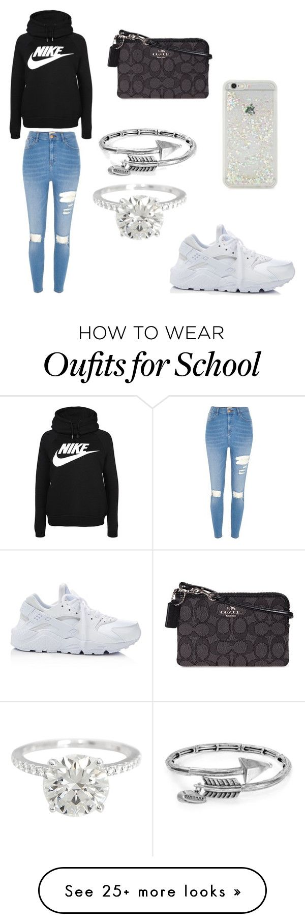 """""""HIGH SCHOOL STYLE"""" by mgarcia-iii on Polyvore featuring ban.do, River Island, NIKE, Alex and Ani and Coach"""
