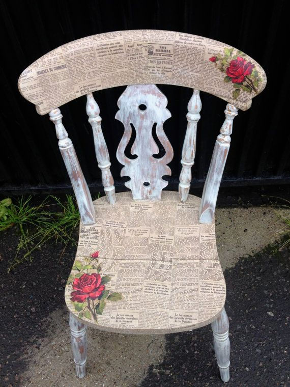 Decoupage Vintage Chair w Roses and News Paper print by urbanrook, £75.00