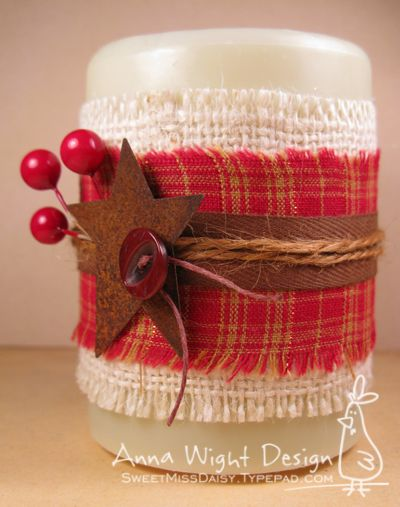 candle sleeves using a light cream colored burlap, some pretty homespun cotton, twill, twine, and a tin star embellishment.