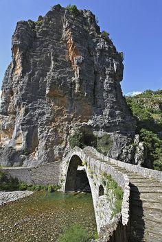 Kokorou stone bridge in Epirus, Greece