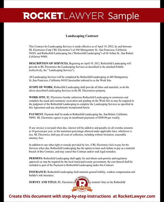 Free Landscape Contract Template Fresh Landscaping Contract Template Lawn Maintenance Contract Contract Template Lettering Letter Templates