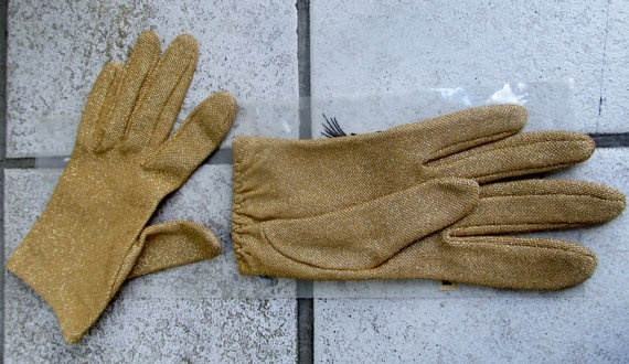 Vintage NOS 1950s Gold Metallic Gloves S / M in Orig by Flashbax, $16.00