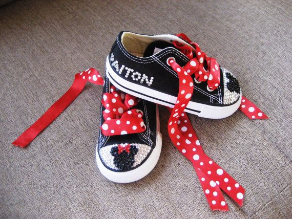 Converse Chuck Taylor All Star SWAROVSKI crystals BLING Minnie / Mickey mouse inspired on Etsy, $70.00