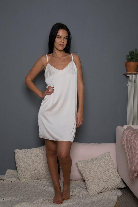 baa913446f Satin Slip Dress   Ivory Satin Slip   White Slip   White Bridal Slip   Satin  Dress   Satin Pyjama   in 2018