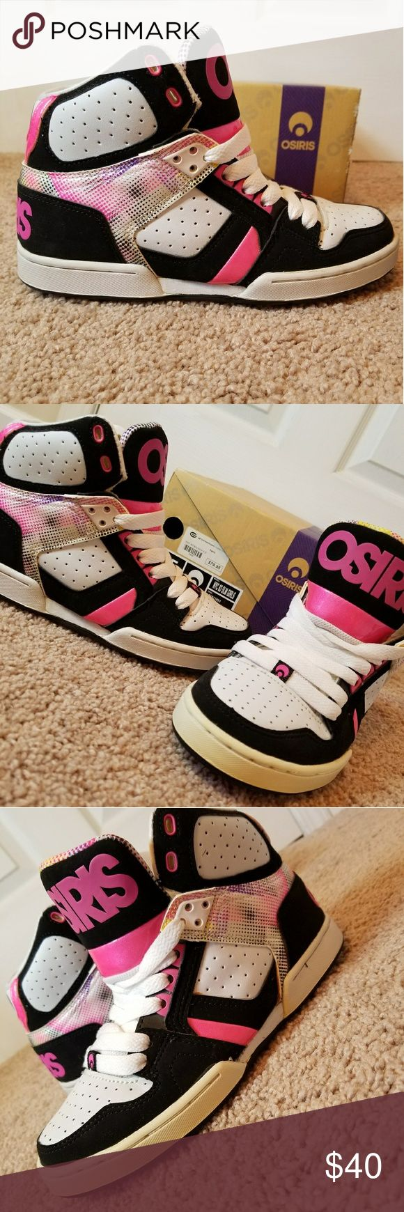 Osiris High Top Sneakers Pre - Owned OSIRIS skater high top sneakers. Great bright colors including hot pink, black, yellow & purple. Only worn a few times, but have become slightly yellow in one area of the outer bottom rim due to always being put back in the box. Still a great pair of sneakers. Very comfortable Osiris Shoes Sneakers