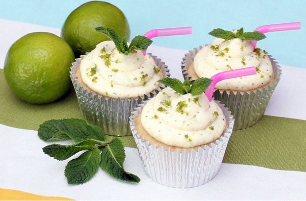 Love a mojito cocktail? Get all the lovely flavours of the drink into your baking by making these mojito cupcakes. Lime and mint flavoured sponges, with a sticky rum glaze, topped with a mint, lime and rum cream cheese frosting, these cakes are simply delicious