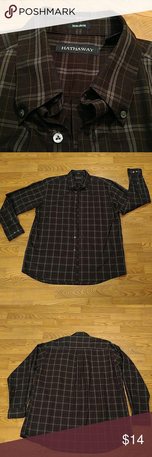 Hathaway men's dress shirt 100%cotton non iron Hathaway 100%cotton non iron dress shirt size L, black and gray stripe with light tan pinstripe hathaway Shirts